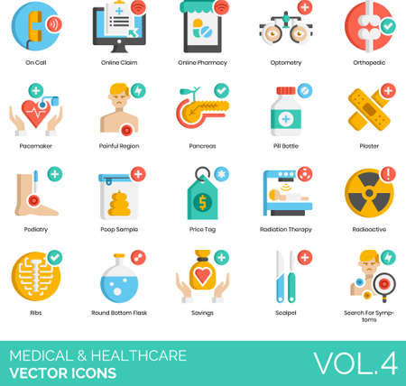 Flat icons of medical and healthcare, pharmacy, diagnostics, laboratory, medical instruments Ilustracja