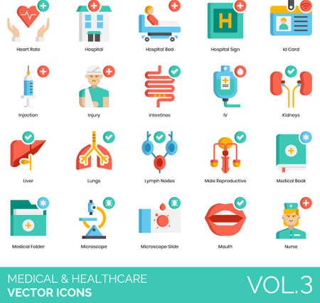 Flat icons of medical and healthcare, hospital facilities, human internal organs, equipment, medical record