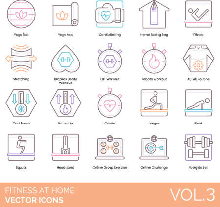 Line icons of fitness at home, sports, workout positions, online group exercise