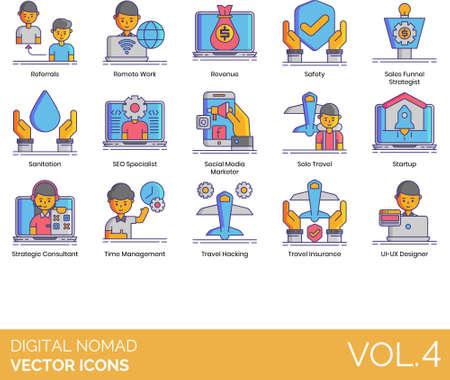Line icons of digital nomad, remote work, freelancer, time management Vector Illustration