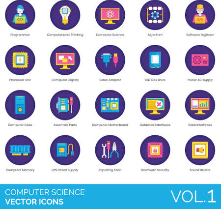 Flat icons of computer science and engineering, tools, computer hardware, data interface