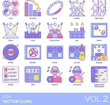 Line icons of EDM and dance party, show, accessories, venue, musical instrument, DJ