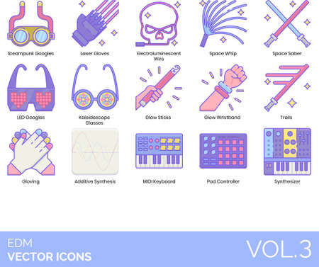 Line icons of EDM and dance party, accessories, electronic music instrument Vectores