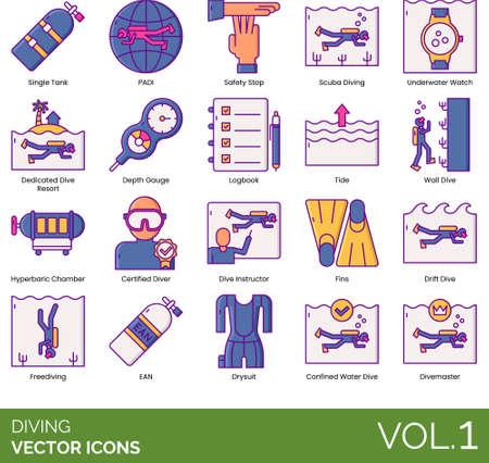 Line icons of diving, professional diver, underwater sport, equipment, association Illustration