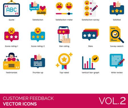 Flat icons of customer feedback and survey, satisfaction meter, score, write review Vektorgrafik