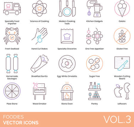 Line icons of foodies and gourmet club, cooking tools, kitchen gadget, gluten free Vektorové ilustrace