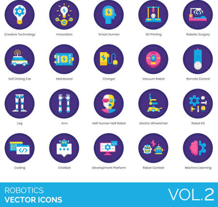 Flat icons of robotics and artificial intelligence, science innovation, automation, machine learning