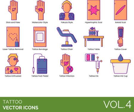 Line icons of tattoo studio, tattoo style, laser tattoo removal, furniture, equipment  イラスト・ベクター素材