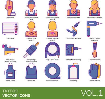 Line icons of tattoo studio, tattoo enthusiast, equipment and tools