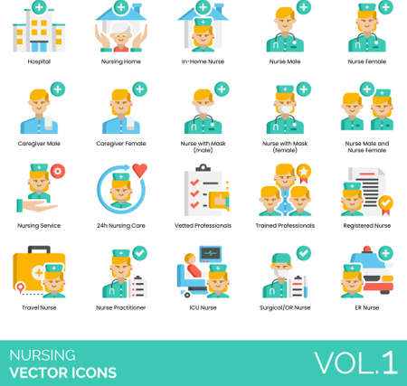 Flat icons of nursing service, caregiver, 24h care, vetted professionals