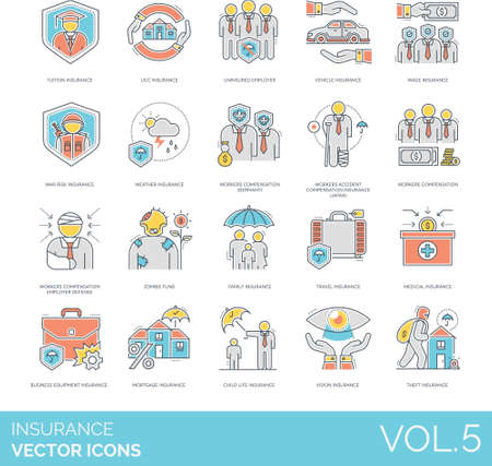 Line icons of insurance category, workers compensation, mortgage, family