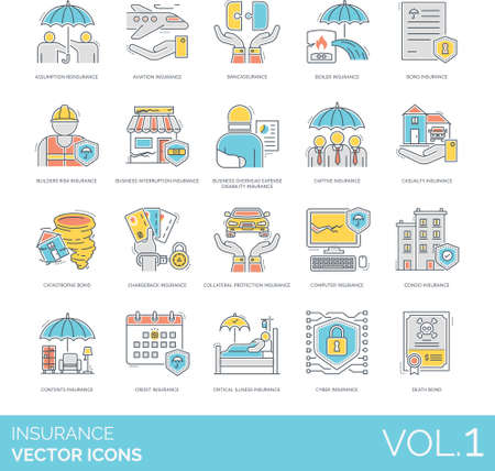 Line icons of insurance category, investment, health and asset protection