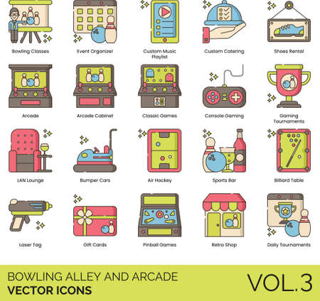 Line icons of bowling alley and arcade, retro gaming console, daily tournaments