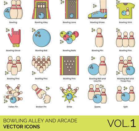 Line icons of bowling alley and arcade, accessories, terms, ball and pins