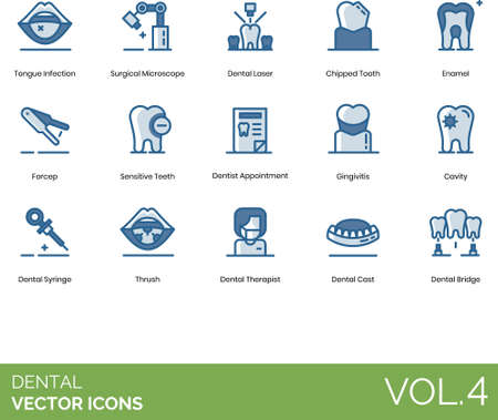 Line icons of dental and tooth healthcare, surgical instrument and device, dentist appointment Illusztráció