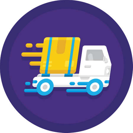 Flat vector icon of express delivery. Illustration of fast moving truck. Logistics service concept.