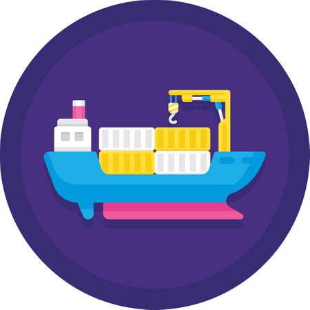 Flat vector icon illustration of ship transports containers. Cargo barge logistics service concept.
