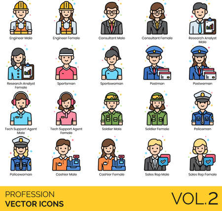 Line icons of people and profession, occupation, user avatar, consultant, soldier, tech support, sales rep Illustration