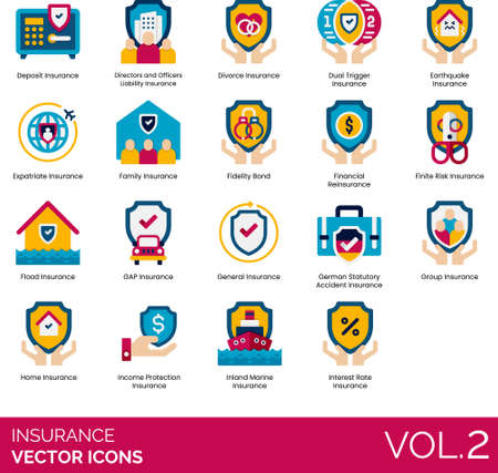 Flat icons of insurance category, asset protection, private and business insurance Vektoros illusztráció
