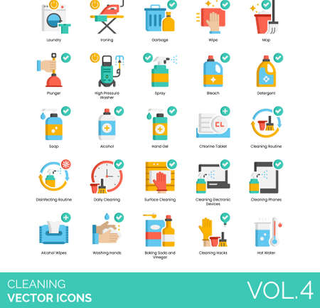 Flat icons of cleaning service, tools and equipment, disinfection