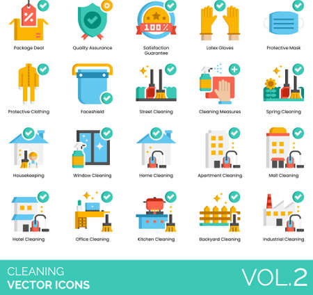 Flat icons of cleaning service, protective equipment, housekeeping, private and commercials Vector Illustration