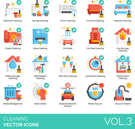 Flat icons of cleaning service, furniture cleaning, car wash, house cleaning, electronic devices