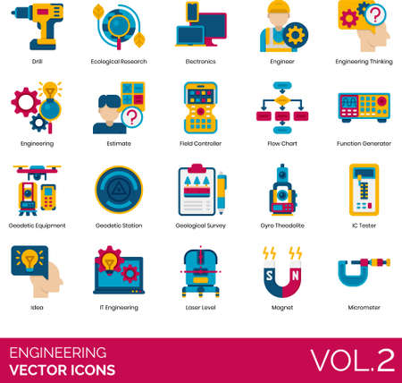 Flat icons of engineering, electronic devices and tools, construction