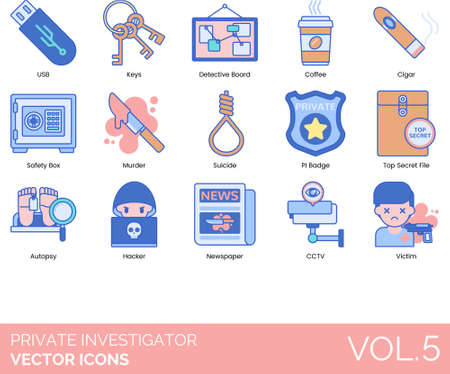 Line icons of private investigator, detective board, crime case, top secret