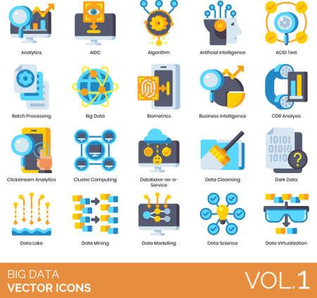 Flat icons of big data analytics, information technology, algorithm, data mining Vektorové ilustrace