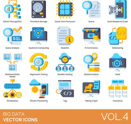 Flat icons of big data analytics, QR code, quantum computing, SaaS, taxonomy