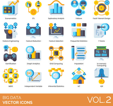 Flat icons of big data analytics, econometrics, gamification, internet of things Illusztráció