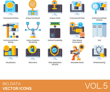 Flat icons of big data analytics, internet of things, unique visitor, vertical scalability, visualization