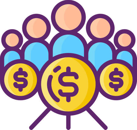 Line vector icon of crowdfunding community. Illustration of crowd or people and coins.
