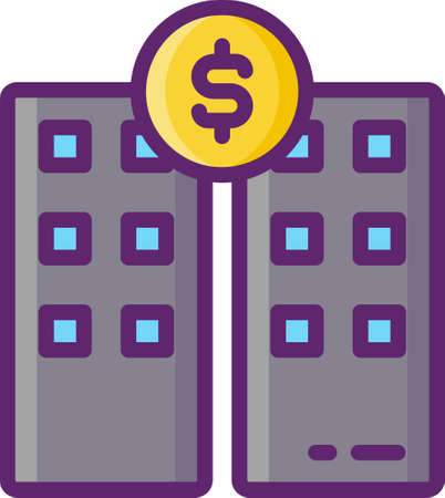 Line vector icon of secondary market or aftermarket. Illustration of two buildings and a coin. Crowdfunding concept.