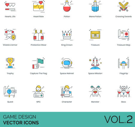 Line icons of game design, video game elements, asset, mission