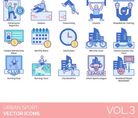 Line icons of urban sports type, membership, tour, league Ilustração