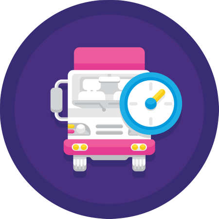 Flat vector icon of delivery scheduled. Illustration of a truck with clock. Logistics service concept. Векторная Иллюстрация