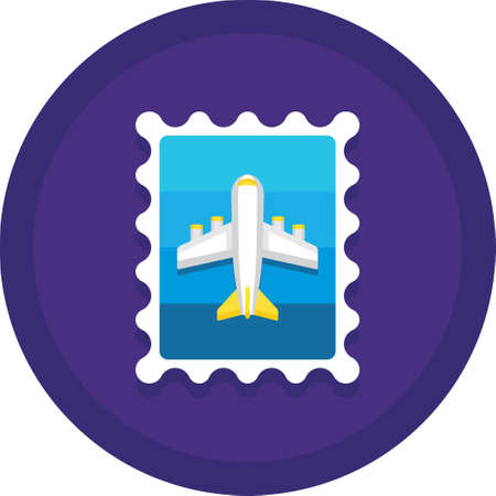 Flat vector icon illustration of airmail postage stamp. Logistics service concept.  イラスト・ベクター素材