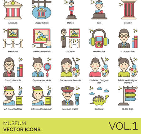 Line icons of museum objects, career, staff, collections, exhibition 向量圖像