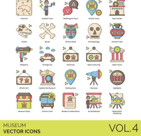 Line icons of museum visit, tour, exploration, collections, workshop