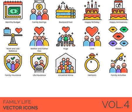 Line icons of family life, family events and activities, insurance