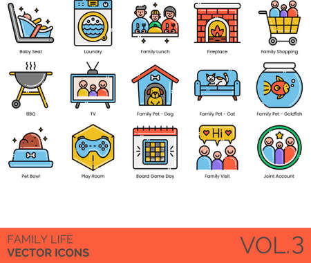 Line icons of family life, home, events, pets Illustration