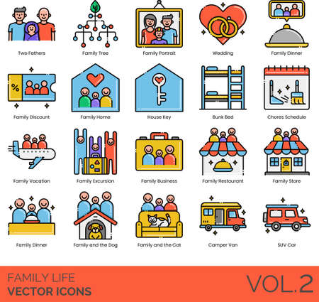 Line icons of family life, home, activities