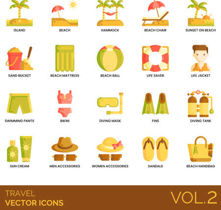 Flat icons of travel and vacation, tropical summer holiday, swimming gear, fashion