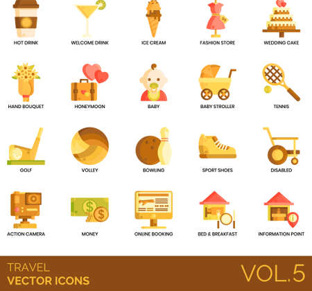 Flat icons of travel and vacation, beverages, sports, online booking