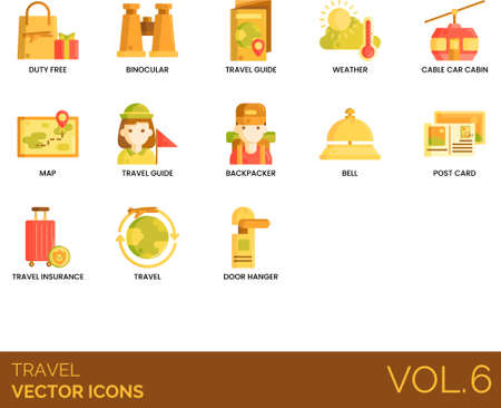 Flat icons of travel and vacation, equipment, guide, souvenir, insurance Illustration