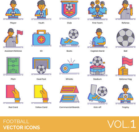 Line icons of football soccer, club, team, rules