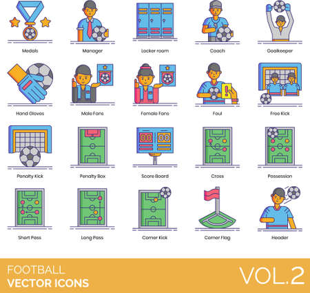 Line icons of football soccer team, fans, formation, penalty