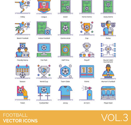 Line icons of football soccer types, league, tournament 矢量图像