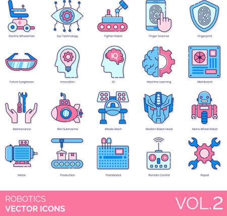 Line icons of robotics, artificial intelligence, automation, innovation, futuristic Illustration